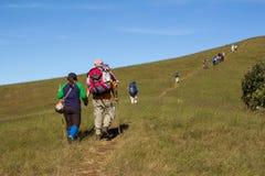 Día del senderismo en las montañas Imagen de archivo libre de regalías