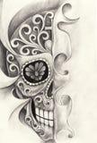 Día del tatuaje del cráneo del arte del papá Imagenes de archivo