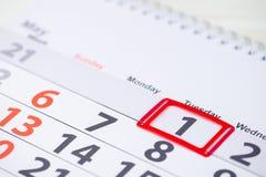 Día del Trabajo 1 de mayo marca en el calendario Fotografía de archivo libre de regalías