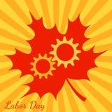 Día del Trabajo en Canadá Engranajes, hoja de arce Fondo con los rayos amarillos y anaranjados del centro ilustración del vector