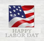 Día del Trabajo feliz Art Logo de madera Imagen de archivo