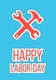 Día del Trabajo feliz con la llave y el martillo Foto de archivo libre de regalías
