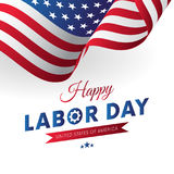 Día del Trabajo feliz Fondo blanco Indicador que agita Cinta roja de la pendiente Vector
