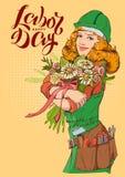 Día del Trabajo feliz Trabajador de la muchacha en casco con el ramo de flores libre illustration