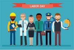 Día del Trabajo Un grupo de personas de diversas profesiones en un fondo blanco libre illustration