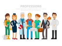 Día del Trabajo Un grupo de personas de diversas profesiones en un fondo blanco Ejemplo del vector en un estilo plano Médico
