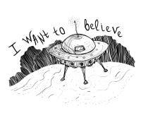 Día del UFO del mundo - quiero creer Extranjeros del UFO cerca de un bosque ilustración del vector
