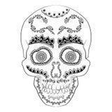 Día del vector muerto del cráneo del azúcar Cráneo mexicano Ejemplo del cráneo del diámetro de los muertos Ilustración del vector Imagen de archivo