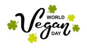 Día del vegano del mundo Día de fiesta internacional de noviembre Mano dibujada poniendo letras a la tipografía aislada libre illustration