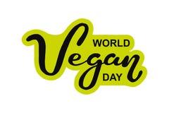 Día del vegano del mundo Día de fiesta internacional de noviembre Mano dibujada poniendo letras a la tipografía aislada stock de ilustración