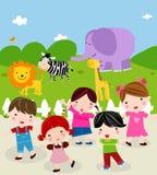 Día en el parque zoológico stock de ilustración
