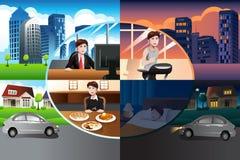 Día en vida de un hombre moderno stock de ilustración