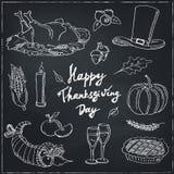 Día feliz de la acción de gracias Sistema de elementos dibujado mano del diseño del día de fiesta stock de ilustración