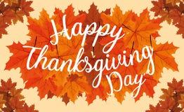 Día feliz de la acción de gracias con las hojas ilustración del vector