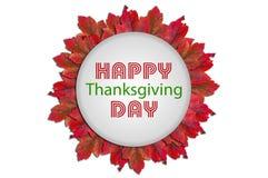 Día feliz de la acción de gracias escrito en forma en el fondo blanco Imagen de archivo libre de regalías