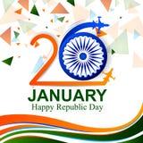 Día feliz de la república de fondo tricolor de la India para el 26 de enero stock de ilustración