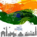 Día feliz de la república de fondo tricolor de la India para el 26 de enero libre illustration