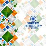 Día feliz de la república de fondo tricolor de la India para el 26 de enero ilustración del vector