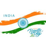 Día feliz de la república de la India, el 26 de enero tarjeta de felicitación con el movimiento indio del cepillo de la bandera n ilustración del vector