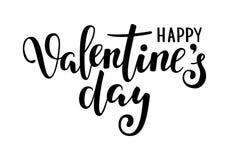 Día feliz de la tarjeta del día de San Valentín s Dé la caligrafía creativa exhausta y cepille las letras de la pluma aisladas en ilustración del vector