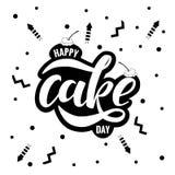 Día feliz de la torta, poniendo letras a tipografía Foto de archivo