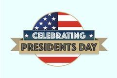 Día feliz de los presidentes en fondo gris con la bandera americana ilustración del vector