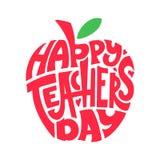 Día feliz de los profesores Mano que pone letras a cita en manzana de la silueta Texto en forma Tarjeta de la enhorabuena, etique stock de ilustración