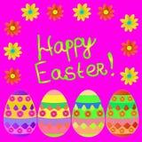 Día feliz de pascua del fondo con los huevos Ilustración stock de ilustración