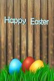 Día feliz de Pascua del llustration del vector Huevos del este coloridos en una tarjeta de felicitación de madera del fondo Plant ilustración del vector