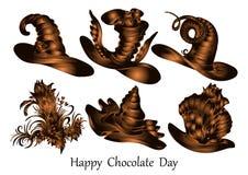 Día feliz del chocolate, diseño del vector, figuras del chocolate stock de ilustración