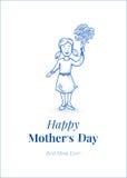 Día feliz del `s de la madre Hija con las flores Pequeña muchacha Ilustración drenada mano Blue Line diseña Carde el modelo Foto de archivo libre de regalías