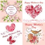 Día feliz del ` s de la madre de la tarjeta de felicitación de la colección El día del ` s de la madre de la postal con la primav ilustración del vector