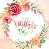 Día feliz del `s de la madre Tarjeta de felicitación con día del ` s de la madre Fondo floral Ilustración del vector libre illustration