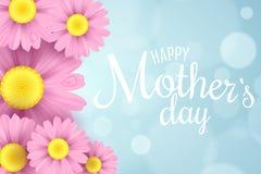 Día feliz del `s de la madre Tarjeta de felicitación La margarita rosada florece en un fondo azul claro con el bokeh de los respl stock de ilustración