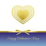 Día feliz del `s de la tarjeta del día de San Valentín Corazón del oro, arco del oro, cinta del oro Fotos de archivo