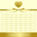 Día feliz del `s de la tarjeta del día de San Valentín Corazones del oro, arco del oro, cinta del oro Fotografía de archivo