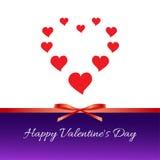Día feliz del `s de la tarjeta del día de San Valentín Corazones rojos, arco rojo, cinta Fotos de archivo