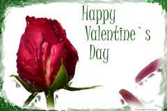 Día feliz del ` s de la tarjeta del día de San Valentín de Rose Foto de archivo