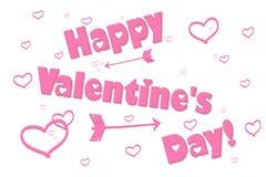 Día feliz del ` s de la tarjeta del día de San Valentín del corazón rosado del fondo Foto de archivo