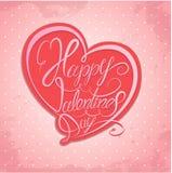 Día feliz del `s de la tarjeta del día de San Valentín Elemento caligráfico Imagen de archivo