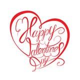 Día feliz del `s de la tarjeta del día de San Valentín Elemento caligráfico Fotografía de archivo libre de regalías