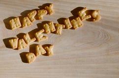 Día feliz del `s de la tarjeta del día de San Valentín Montón de letras comestibles Imagen de archivo libre de regalías