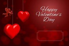 Día feliz del `s de la tarjeta del día de San Valentín Tarjeta de felicitación en fondo rojo Fotografía de archivo libre de regalías