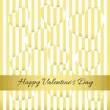 Día feliz del `s de la tarjeta del día de San Valentín Tarjeta del oro, corazones, rayas Fotografía de archivo libre de regalías
