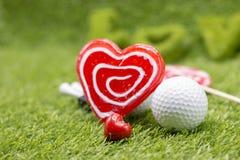 Día feliz del ` s de la tarjeta del día de San Valentín al golfista Fotografía de archivo