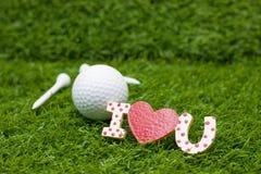 Día feliz del ` s de la tarjeta del día de San Valentín al golfista Imágenes de archivo libres de regalías