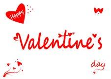 Día feliz del ` s de la tarjeta del día de San Valentín con los corazones aislados en el fondo blanco imagen de archivo