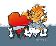 Día feliz del `s de la tarjeta del día de San Valentín Cupido con las flechas y los corazones Pintada de la tarjeta del día de Sa ilustración del vector