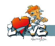 Día feliz del `s de la tarjeta del día de San Valentín Cupido con las flechas y los corazones Pintada de la tarjeta del día de Sa stock de ilustración