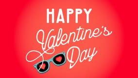 Día feliz del `s de la tarjeta del día de San Valentín Gafas de sol con los corazones Concepto del amor Ilustración del vector stock de ilustración